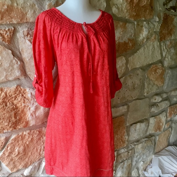 Anthropologie Dresses & Skirts - Anthropologie Coral Mermaid Cotton Tunic Dress